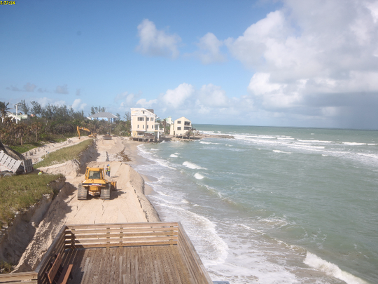 Bathtub Reef Beach is seen at 2:37 p.m. Tuesday, Nov. 14, 2017, in this still photo from Martin County's beach camera. The sand berm constructed by work crews is visible just below the dune.