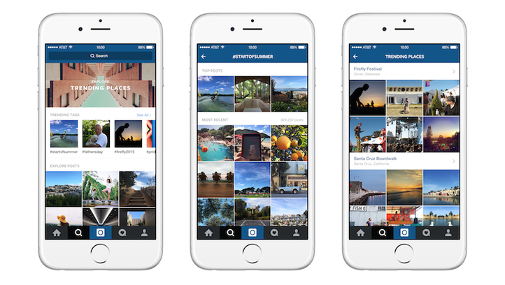 Examples of Instagram's Explore feature with different trending places.