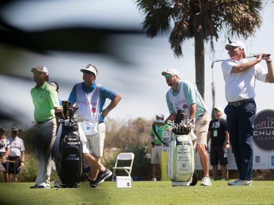 PGA Tour Pro Fred Couples drives the ball during the first round of the Chubb Classic at TwinEagles Club Friday, Feb. 17, 2017 in Naples.