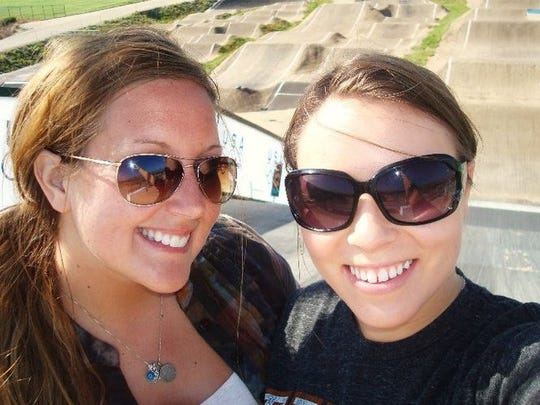 Jacquelin Linn (left) and her roommate, Megan atop