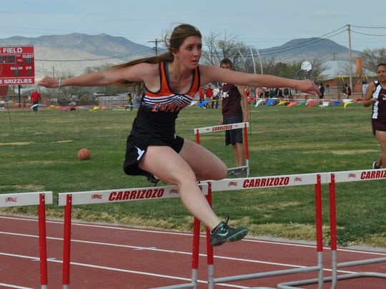 Capitan's Dakota Hazen won the100 meter hurdles with a time of :17.82 and the the long jump with a 14' leap.