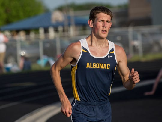 Algonac's Morgan Beadlescomb competes in the 1600 meter run during the Meet of Champions Friday, May 27, 2016 at Marysville High School.