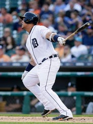 Tigers first baseman Miguel Cabrera doubles to drive