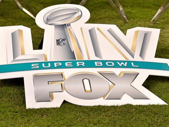 Aug 22, 2019; Miami Gardens, FL, USA; Fox network displays a Super Bowl LIV sign at Hard Rock Stadium. Mandatory Credit: Steve Mitchell-USA TODAY Sports