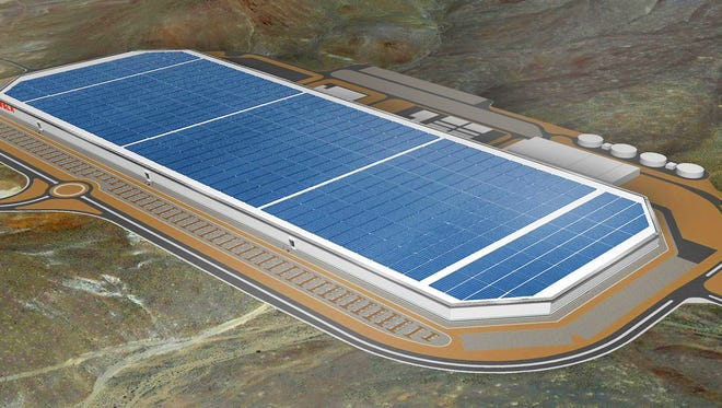 A rendering of the completed Gigafactory 1 for Tesla Motors east of Reno.