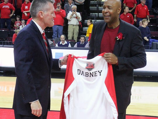 Rutgers athletics director Pat Hobbs, left, with Rutgers basketball great Mike Dabney at a celebration for the 1976 Final Four Team.