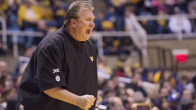 West Virginia Mountaineers head coach Bob Huggins reacts to a play on Feb. 11.