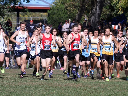 Boys take off at the start of the Westchester Cross