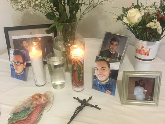 A make-shift altar honors the life of 29-year-old Angel Machado, a Lehigh Acres resident who was found dead early Friday morning.