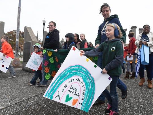 Marchers start the Children's March on Evansville at