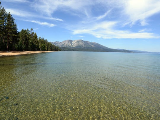Lake Tahoe as seen from the pier at the Tallac Historical