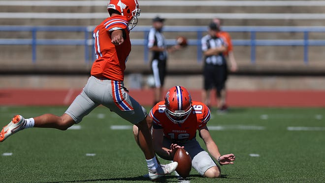 San Angelo Central High School placekicker Miles Houser is in his first season with the Bobcats this fall.