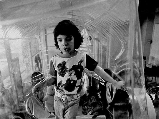 David Vetter on Dec. 17, 1976. Vetter was born with a genetic disorder leaving him no natural immunity against disease. He died in 1984.