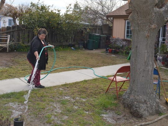 Norma Sanchez waters her front yard. East Porterville residents connecting to municipal water system.