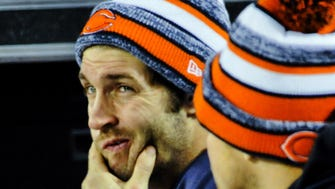 Chicago Bears quarterback Jay Cutler on the sidelines in the second  half of their loss against the New Orleans Saints at Soldier Field.