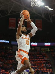 Clemson Tigers Gabe Devoe (10) goes up for a layup