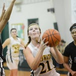 Broadwater's Anna Sexauer (21) drives to the basket during the Vikings' game against Williamsburg Christian Academy on Tuesday, Feb. 9, 2016. Williamsburg Christian Academy won the game 67-27.