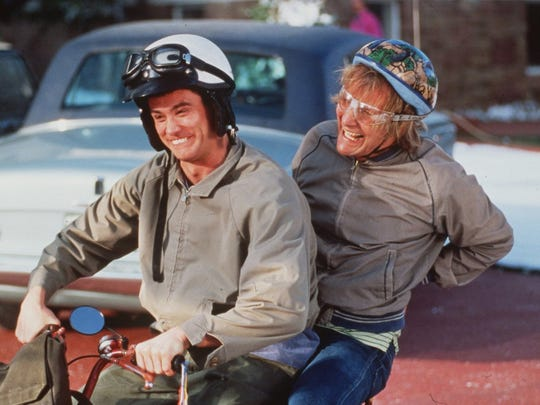 Jim Carreyand Jeff Daniels in the movie, Dumb and Dumber.  Picture received in 1994.