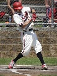 St. Augusta's Dusty Schultzetenberg hits the ball but