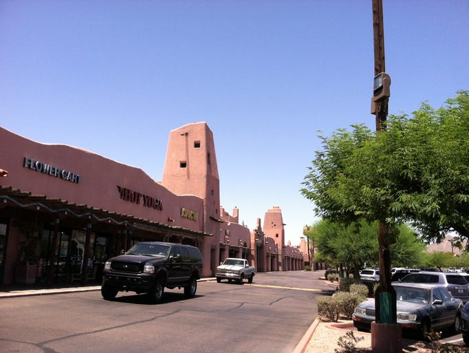 Papago Plaza, the shopping center on the southwestern corner of Scottsdale and McDowell roads, originally opened in 1959 and was named Frontier Town Plaza. It was extensively renovated in 1988, and renamed Papago Plaza.