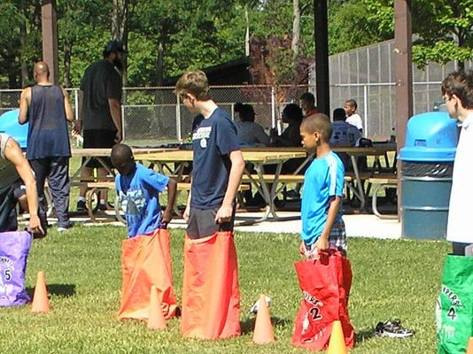Sack races, cropped