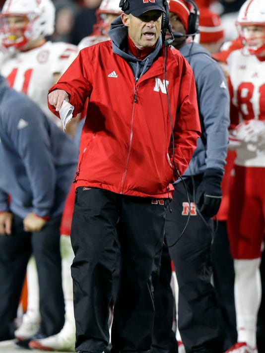 Nebraska head coach Mike Riley yells from the sideline during the second half of an NCAA college football game against Purdue in West Lafayette, Ind., Saturday, Oct. 28, 2017. Nebraska defeated Purdue 25-24. (AP Photo/Michael Conroy)