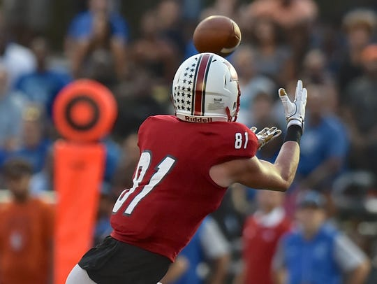 La Salle's Josh Whyle catches a touchdown pass against