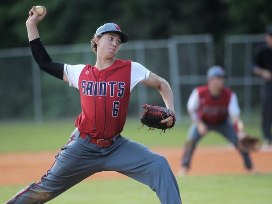 Wakulla Christian sophomore Seth Dudley, a 6-foot-3 power arm, pitches against Munroe.