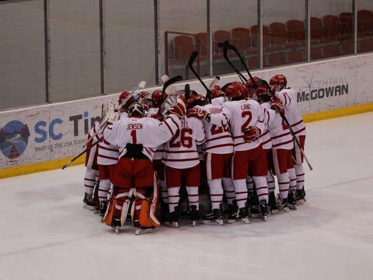 The St. John's University hockey team gets ready for