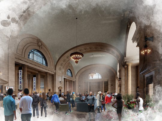 A rendering imagines the ground floor of the old Michigan Central Depot as a public space with retail, restaurants and gathering spaces.