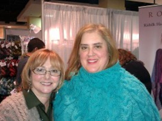 Here I am with Nickie Epstein on the way out of Marketplace, Sunday evening at Vogue Knitting Live, 2012.