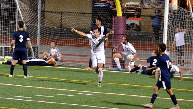 Kaio DaSilva celebrates a goal during Valhalla's 5-0 win over Briarcliff on Saturday, Sept. 5.