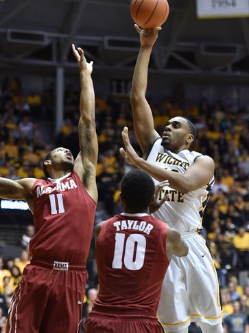 Wichita State forward Darius Carter Jr. shoots over