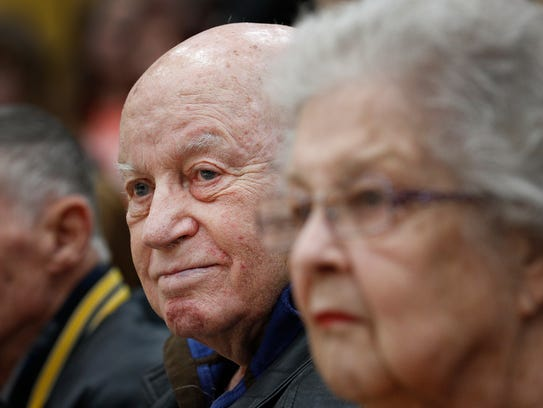 Wayne Wood,left, and his wife Martha Wood during a