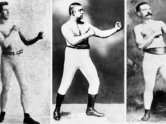In 1889, The Marquess of Queensberry Rules that mandate the use of gloves in boxing came into effect in the USA. That was the year of the last major bare-knuckle heavyweight world championship, won by the famed John L. Sullivan. From left to right, bare knuckle fighters Jim Corbett, Sullivan and Jake Kilrain posed in undated photos.