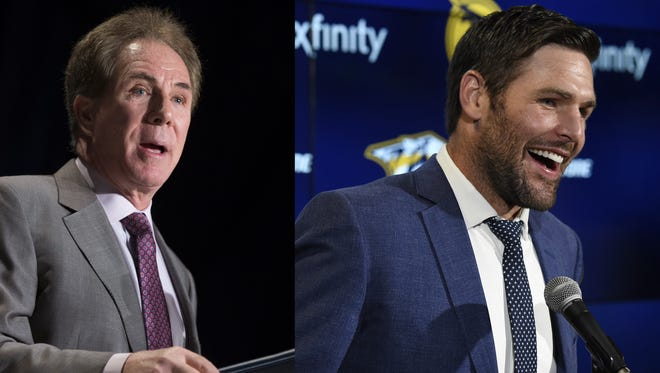 Predators player Mike Fisher, right, and former NASCAR driver Darrell Waltrip have joined Republican Bill Lee's gubernatorial campaign as part of an advisory committee.