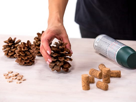 The supplies you'll need to make the pinecone tree