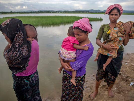 Rohingya Muslim women who crossed over from Myanmar