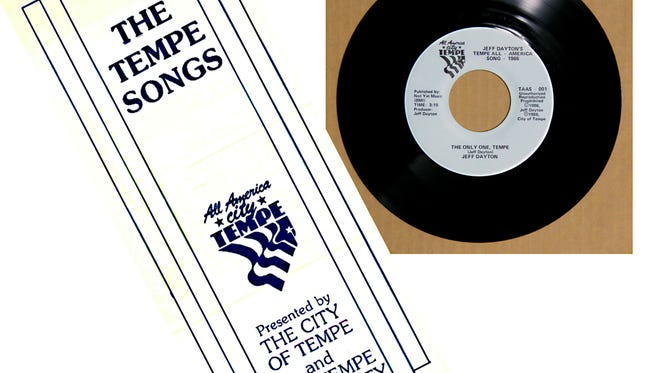 To celebrate its recognition as an All-American City, Tempe commissioned a competition to find songs that best characterized Tempe, resulting in two winners. Pictured here is the 45rpm record and souvenir booklet that contained lyrics and story of the process.