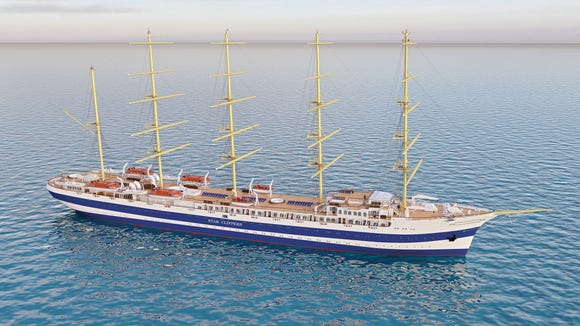 An artist's drawing of an as-yet-unnamed vessel under construction for sailing line Star Clippers. It'll be the biggest square rigger in the world when it debuts in 2017.
