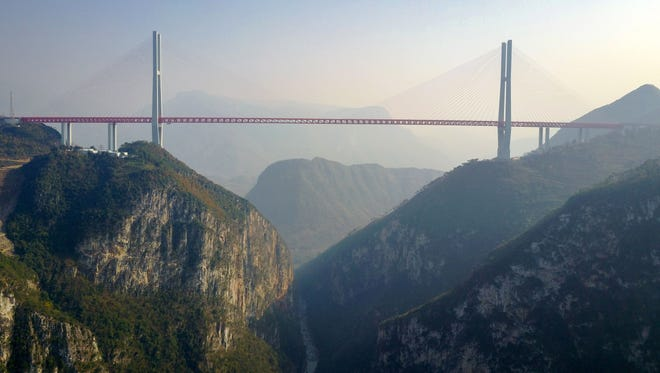 This picture taken on Dec. 28, 2016 shows the Beipanjiang Bridge, near Bijie in southwest China's Guizhou province.
