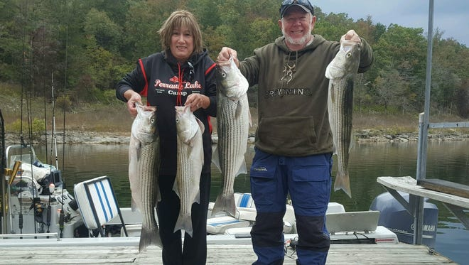 Debbie and Chuck recently landed their limits of stripers while fishing on Norfork Lake.