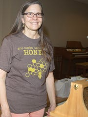 Adele Barree, suburban beekeeper, last July at a community