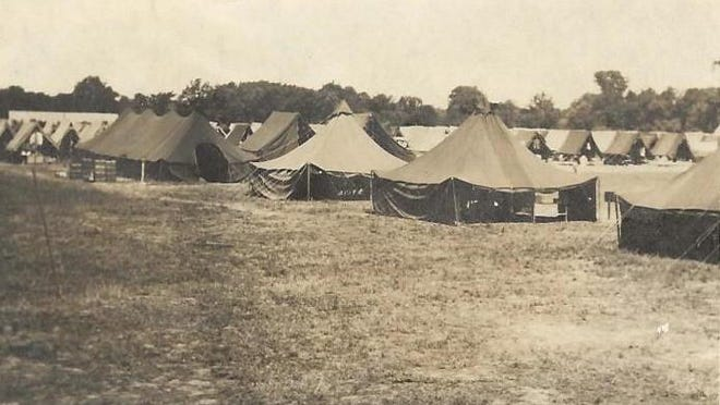 This image of what one of the German POW camps in Blissfield looked like was taken by Phyllis Robertson. During her career, Robertson wrote articles for The Blade in Toledo, The Advance in Blissfield and The Daily Telegram. She would have been 38 years old when this photo was taken, according to Connie Seiser, the director of the Blissfield Historical Society and Museum. Robertson lived on the corner of Giles Avenue and Jefferson Street in Blissfield, which was near this POW camp. Camps included a soccer field for the POW's to utilize. Very few photos of the POW camps exist.