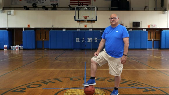 Former Blind Brook girls basketball head coach Manny Martinez spoke about his new role as the Port Chester boys basketball coach July 26, 2018 in Port Chester.