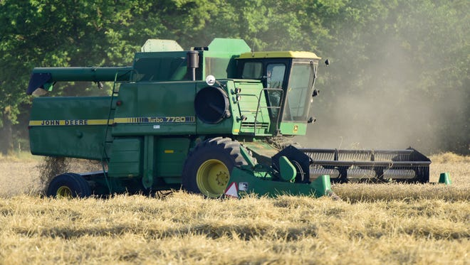 Steve Green is doubling up on his 60-acre farm in Woodville, harvesting wheat now and planting soybeans for the fall.
