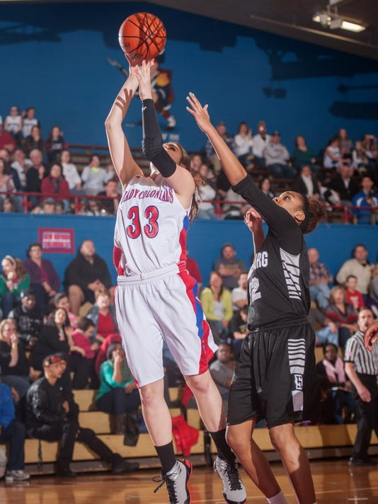 New Oxford's Taryn Crone (33) shoots in a Class AAAA District 3 preliminary game on Friday, Feb. 14, 2014. (Jeff Lautenberger - GameTimePA.com)