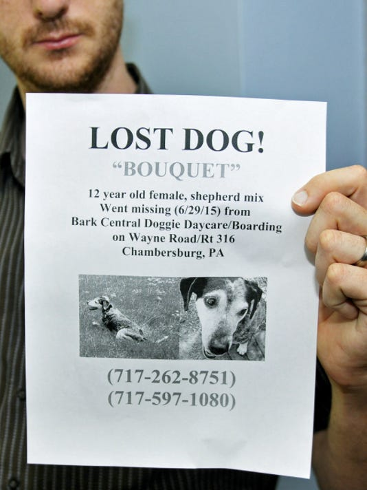 Kyle Smith holds a flier he printed and posted after his dog was lost. The dog returned home recently - whereabouts unknown.  Markell DeLoatch - Public Opinion