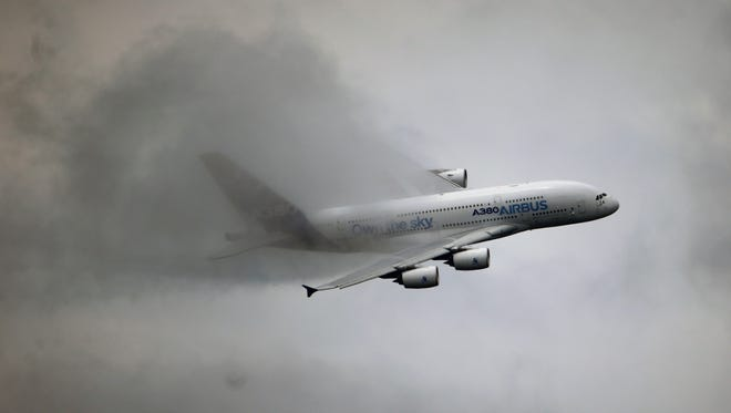 This file photo from June 20, 2013, shows an Airbus A380 on a demonstration flight during the 50th Paris Air Show.