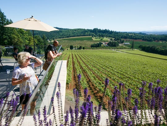 Visitors to Willamette Valley Vineyards sip wine and